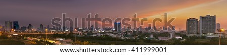 BANGKOK THAILAND -MAY 25 : City scape in the evening on may 25,2016 in bangkok thailand