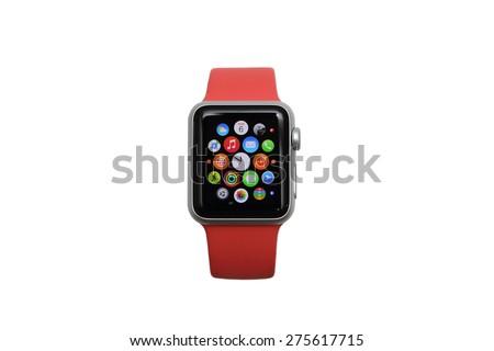 BANGKOK THAILAND MAY 6, 2015: close up image of apple watch on MAY 6, 2015 in Bangkok Thailand - stock photo