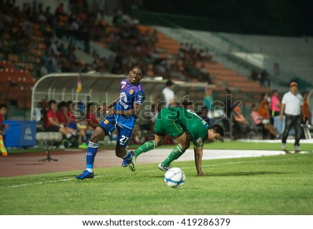 BANGKOK THAILAND-11MAY,2016:Diouf bireme[b] player of sukhothai fc in action during thaileague match between army fc and sukhothai fc at royal thai army stadium in thailand