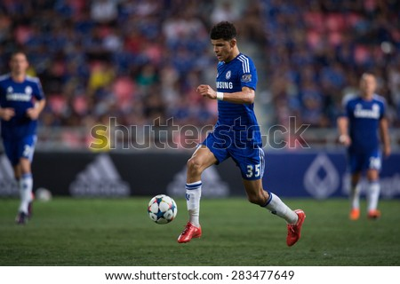 BANGKOK THAILAND MAY 30:Dominic Solanke of Chelsea control the ball during the Singha Chelsea fc. Celebration match Thailand All-Stars and Chelsea FC Rajamangala Stadium on May 30,2015 in Thailand. - stock photo