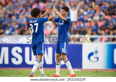 BANGKOK THAILAND MAY 30:Dominic Solanke (R) of Chelsea celebrates during the Singha Chelsea fc. Celebration match Thailand All-Stars and Chelsea FC at Rajamangala Stadium on May 30,2015 in Thailand. - stock photo