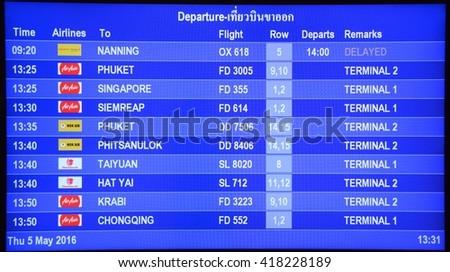 Bangkok, Thailand, 5 May 2016 : Don muang international airport is one of two international airports serving Greater Bangkok, the other one being Suvarnabhumi Airport. - stock photo