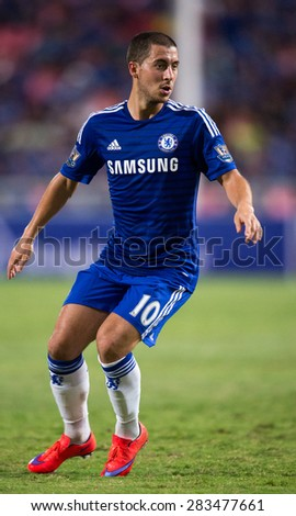 BANGKOK THAILAND MAY 30:Eden Hazard no.10 of Chelsea in action during the Singha Chelsea fc. Celebration match Thailand All-Stars and Chelsea FC Rajamangala Stadium on May 30,2015 in Thailand. - stock photo