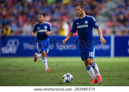 BANGKOK THAILAND MAY 30:Eden Hazard of Chelsea for the ball during the Singha Chelsea fc. Celebration match Thailand All-Stars and Chelsea FC at Rajamangala Stadium on May 30,2015 in Thailand. - stock photo