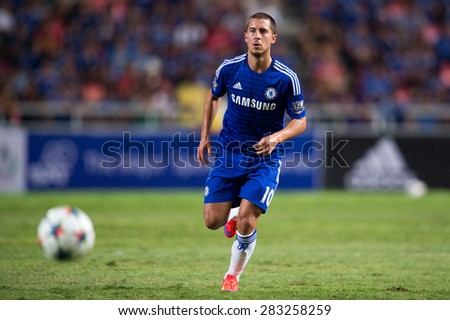BANGKOK THAILAND MAY 30: Eden Hazard of Chelsea in action during the Singha Chelsea fc. Celebration match Thailand All-Stars and Chelsea FC at Rajamangala Stadium on May 30,2015 in Thailand. - stock photo