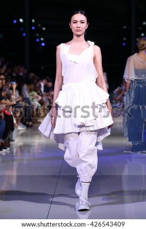 Bangkok, Thailand - 25 May 2016 : Final Thesis Fashion Show of Bangkok University to present Ready to wear, Evening Gown, Woman, Model runway as young designer