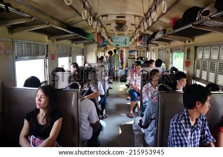 Bangkok, Thailand - May 1 Interior of Thailand Train Class 3 People travel from bangkok to ayutthaya by train, on May 1, 2014 in Bangkok Thailand - stock photo