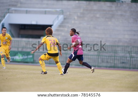 BANGKOK THAILAND- MAY 28 : J.Prince (R) in action during Thai Premier League (TPL) Divition 1 between BB-CU Fc (P) vs Cat Today Janburi (Y) on May 28, 2011 at Army Stadium in Bangkok Thailand