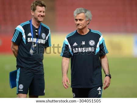 BANGKOK THAILAND MAY 29: Jose Mourinho manager of Chelsea in action during the pre-match training session at Rajamangala Stadium on May 29,2015 in Thailand. - stock photo