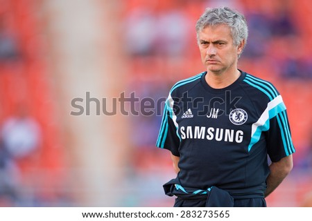BANGKOK THAILAND MAY 30:Manager Jose Mourinho of Chelsea look on during the Singha Chelsea fc. Celebration match Thailand All-Stars and Chelsea FC at Rajamangala Stadium on May 30,2015 in Thailand. - stock photo