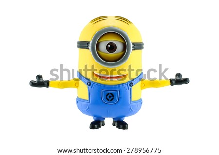 Bangkok,Thailand - May 17, 2015: Minions stretch the arms isolated on white an action figure from Despicable Me 2 animated 3D film produced by Illumination Entertainment for Universal Pictures. - stock photo