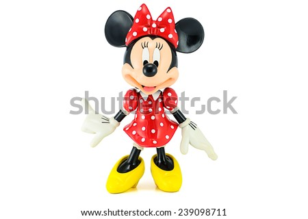 Bangkok,THAILAND - May 13, 2014 : Minnie mouse figure toy character on white background. This character from Mickey and friend animation by Disney studio. - stock photo
