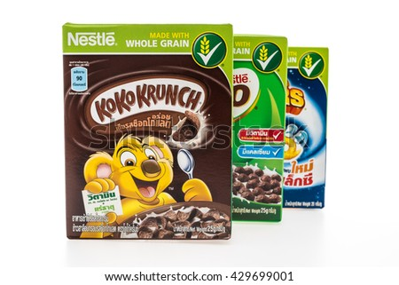 BANGKOK, THAILAND - MAY 27, 2016 : Nestle cereal box isolated on white background