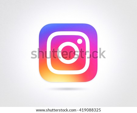 BANGKOK, THAILAND - May 12, 2016- New Instagram logo 2016 camera icon symbolic with colorful new design, Printed on white paper. Instagram is a popular social networking for sharing photos and videos. - stock photo