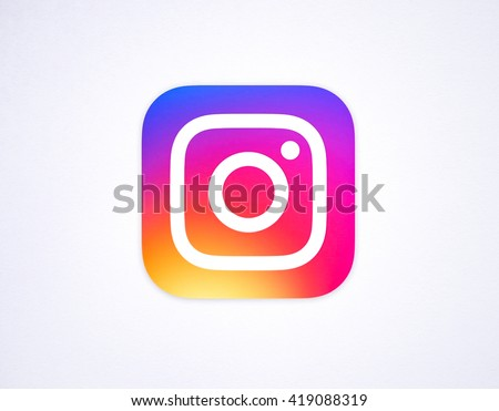 BANGKOK ,THAILAND - May 12 , 2016- New Instagram logotype camera icon symbolic with colorful new design, Printed on white paper. Instagram is a popular social networking for sharing photos and videos. - stock photo