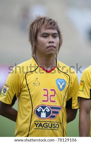 BANGKOK, THAILAND- MAY 28:P.Punsumlee in action during Thai Premier League (TPL) Divition 1 between BB-CU Fc (P) vs Cat Today Janburi (Y) on May 28, 2011 at Army Stadium in Bangkok, Thailand