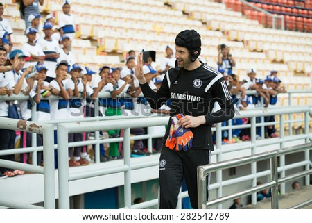 BANGKOK THAILAND MAY 29,Peter Cech of Chelsea FC  in action to fans during a Chelsea FC training session at  Rajamangala Stadium on May 29,2015 in Bangkok Thailand  - stock photo