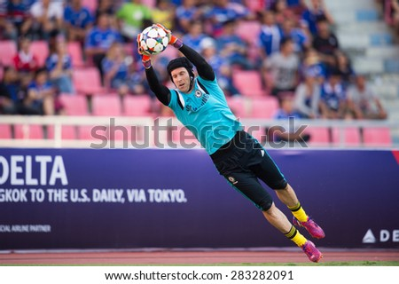 BANGKOK THAILAND MAY 30:Petr Cech of Chelsea in action during the Singha Chelsea fc. Celebration match Thailand All-Stars and Chelsea FC at Rajamangala Stadium on May 30,2015 in Thailand. - stock photo