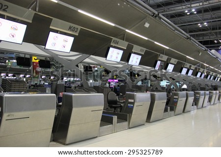 Bangkok, Thailand - May 12, 2015: Suvarnabhumi Airport is the tenth busiest airport in the world, sixth busiest airport in Asia and the busiest in the country. - stock photo