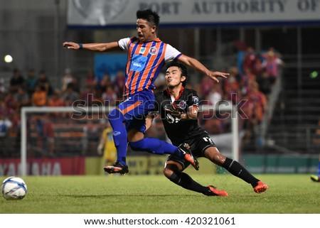 BANGKOK THAILAND-MAY8:Tana Chanabut of Thai Port Fc in action during Yamaha League One 2016 between Thai Port Fc and PTT Rayong FC at PAT Stadium on May8,2016 in Bangkok Thailand - stock photo