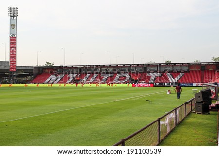 BANGKOK,THAILAND-MAY 4: The landscape of SCG Stadium before the game between MTUTD and Suphanburi FC at SCG Stadium on May 4, 2014 in Bangkok,Thailand.