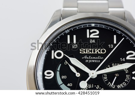 BANGKOK, THAILAND - MAY 30, 2016: The SEIKO PRESAGE SARW015 with Seiko Caliber 6R21 movement. The SRW015 is a Japanese Domestic Market watch model.