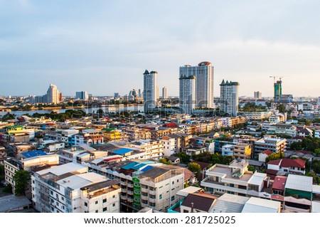 Bangkok, Thailand- May 24, 2015: Twilight view bangkok city on May 24, 2015 in bangkok, Thailand. - stock photo