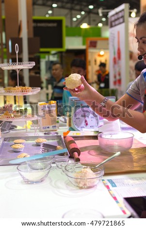Bangkok, Thailand - May 29, 2016 : Unidentified chef demonstrating how to make the bakery.