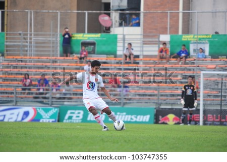 BANGKOK THAILAND - MAY 6 : Unidentified player in Thai Premier League (TPL) between Thai Port FC (O) vs BEC TERO (W) on May 6, 2012 at PAT Stadium in Bangkok, Thailand