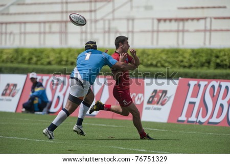 BANGKOK ,THAILAND - MAY 7 : Unidentified rugby players during India vs Iran in HSBC Asian 5 Nations Division II & Premier Division 2011 at National Stadium on May 7 , 2011 in Bangkok, Thailand.