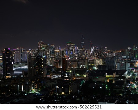 BANGKOK THAILAND : night light aerial view cityscape