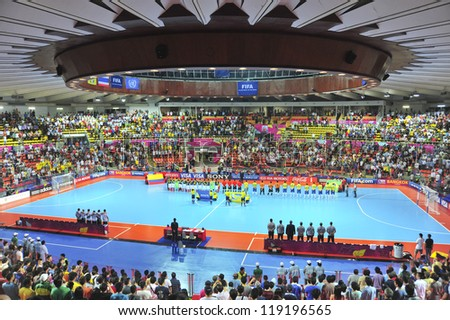 BANGKOK, THAILAND - NOV 16:A general view prior of Indoor Stadium Huamark before FIFA Futsal World Cup, between Brazil and Colombia at Indoor Stadium Huamark on November 16, 2012 in Bangkok, Thailand. - stock photo