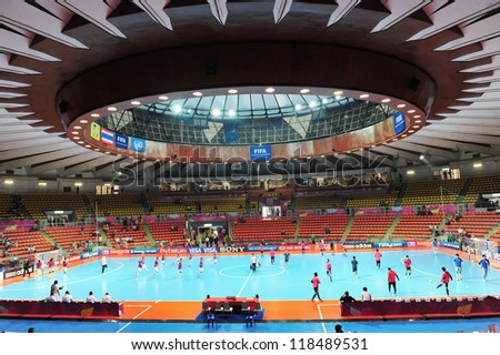 BANGKOK,THAILAND-NOV 7:A general view prior of Indoor Stadium Huamark before the FIFA Futsal World Cup match between Japan and Libya at Indoor Stadium Huamark on Nov 7,2012 in Thailand. - stock photo