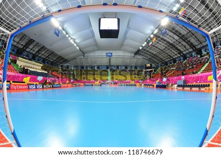 BANGKOK, THAILAND - NOV 11: A general view prior of Nimibut Stadium before the FIFA Futsal World Cup between Thailand (R) and Spain (B) at Nimibutr Stadium on November 11, 2012 in Bangkok, Thailand. - stock photo