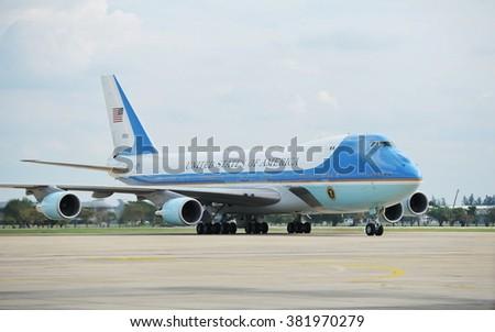 BANGKOK, THAILAND - NOV 18, 2012: Air Force One taxis on the runway at Don Muang International Airport. US president Barack Obama has begun a historic Southeast Asian tour. - stock photo