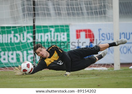 BANGKOK THAILAND - NOV 15:Australian goal keeper Natah Coe in action during The FIFA WORLD CUP 2014 between Thailand(B) and Australia (Y) at Supachalasai Stadium on Nov 15, 2011 Bangkok, Thailand. - stock photo