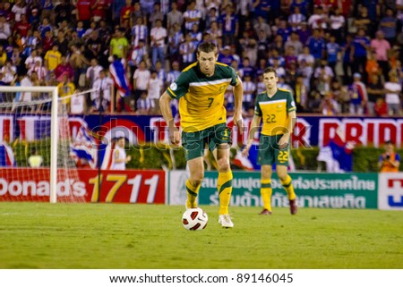 BANGKOK, THAILAND - NOV 15 : B.Emerton in action during FIFA World Cup 2014 between Thailand (B) and Australia (Y) at Supachalasai National Stadium on November 15, 2011 in Bangkok, Thailand