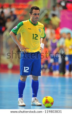 BANGKOK, THAILAND - NOV 14: Falcao in action during FIFA Futsal World Cup Quarter-Final match between Argentina (B) and Brazil (Y) at Indoor Stadium Huamark on November 14, 2012 in Bangkok, Thailand. - stock photo