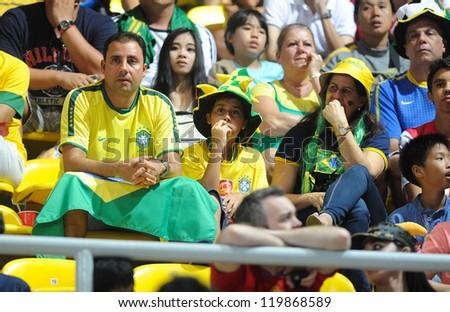 BANGKOK, THAILAND - NOV 18 : Fans of Brazil Futsal in FIFA Futsal World Cup thailand 2012 Between Spain (R) VS Brazil (Y) on November 18, 2012 at Indoor Stadium Huamark in Bangkok Thailand. - stock photo