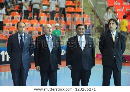 BANGKOK,THAILAND-NOV 18: FIFA President Joseph S. Blatter stand for the National Anthem  prior to the FIFA Futsal World Cup Third Place  at Indoor Stadium Huamark on Nov18, 2012 in Bangkok,Thailand. - stock photo