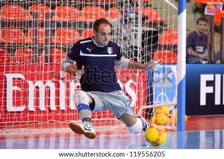BANGKOK,THAILAND-NOV18:Goalkeeper Valerio Barigelli of Italy warms up ahead during the FIFA Futsal World Cup  between Italy and Colombia at Indoor Stadium Huamark on Nov18,2012 in,Thailand. - stock photo