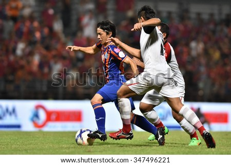 BANGKOK THAILAND-NOV22:Hironori Saruta of Thai Port Fcin action during Thai Premier League2015 between Thai Port Fc and Osotspa FCat PAT Stadium on November22,2015 in Bangkok Thailand - stock photo
