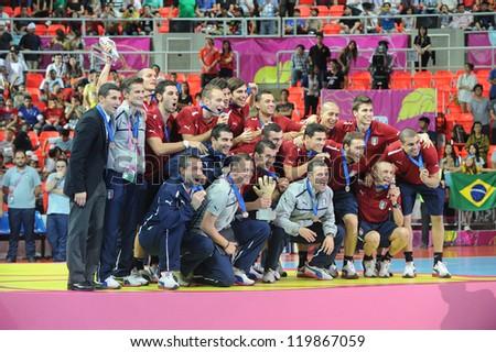 BANGKOK, THAILAND - NOV 18 : Italy national team celebrate with the third place in FIFA Futsal World Cup thailand 2012  on November 18, 2012 at Indoor Stadium Huamark in Bangkok Thailand. - stock photo
