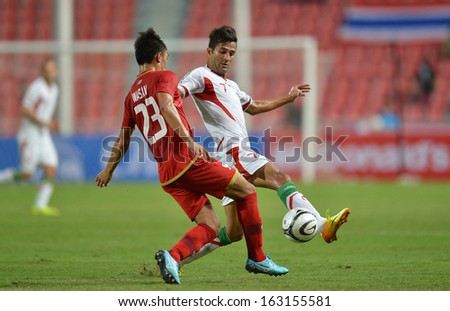 BANGKOK,THAILAND-NOV 15,201: Masoud Shojaei(#7) player of Iran in action during AFC Asisan Cup 2015 Qualifiers between Thailand and Iran at Nation stadium on November 15,2013 in Bangkok, Thailand.