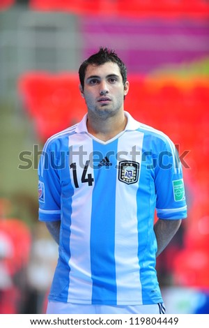 BANGKOK, THAILAND - NOV 14: Michele Miarelli player of Argentina in FIFA Futsal World Cup between Argentina (B) and Brazil (Y) at Indoor Stadium Huamark on November 14, 2012 in Bangkok, Thailand. - stock photo