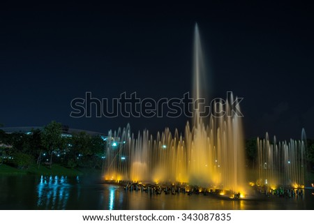 Bangkok, Thailand Nov 22, 2015 Night at Queen Sirikit Park, the botanical garden in Chatuchak district, Bangkok, Thailand. Covering an area of 0.22 km�².