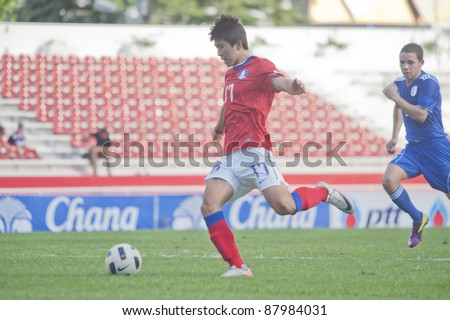 BANGKOK, THAILAND - NOV 2 : S>Seungjun in action during AFC U-19 Championship 2012 between Korea Republic (R) and Guam (B) at Debhatsadin Stadium on November 2, 2011 in Bangkok, Thailand
