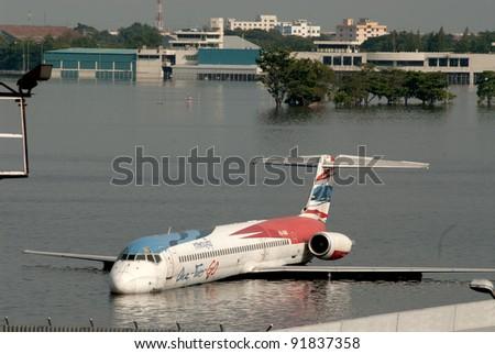 BANGKOK THAILAND - NOV 4 : scenes from Don Muang Airport Bangkok during its worst flooding in decades is a major disaster Nov 4,2011 in Bangkok Thailand. - stock photo