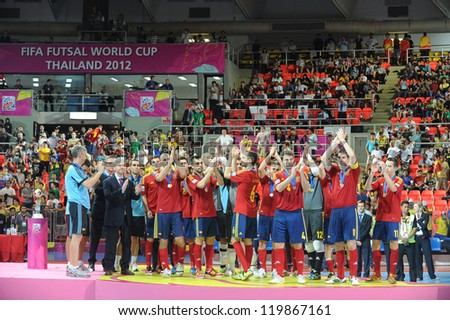 BANGKOK, THAILAND - NOV 18: Second placed team Spain pose after the FIFA Futsal World Cup Final at Indoor Stadium Huamark on November 18, 2012 in Bangkok, Thailand. - stock photo