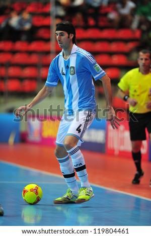 BANGKOK, THAILAND - NOV 14: Sergio Romano player of Argentina in FIFA Futsal World Cup between Argentina (B) and Brazil (Y) at Indoor Stadium Huamark on November 14, 2012 in Bangkok, Thailand. - stock photo